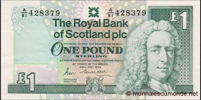 Ecosse - p351a - 1 Pound Sterling - 26.07.1989 - Royal Bank of Scotland PLC