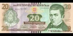 Honduras - p100b - 20 Lempiras - 12.06.2014 - Banco Central de Honduras
