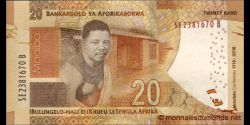 afrique du sud - p144 - 20 rand - 2018 - South African Reserve Bank