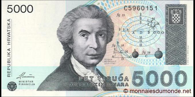 Croatie - p24 - 5000 Hrvatskih Dinara - 1992 - Republika Hrvatska