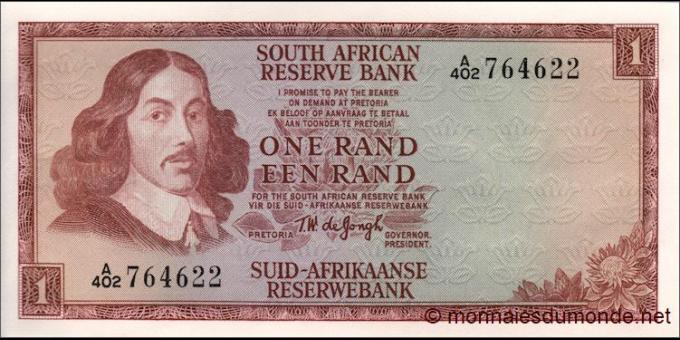 afrique du sud - p109b - 1 rand - ND (1966 - 1972) - South African Reserve Bank / Suid - Afrikaanse Reserwebank