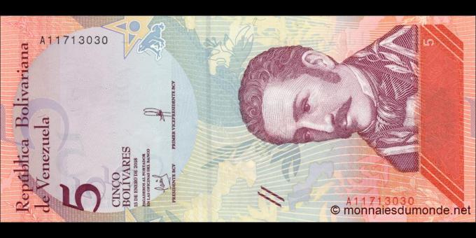 Venezuela - p102a - 5 Bolívares soberano - 15.01.2018 - Banco Central de Venezuela