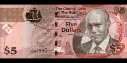 Bahamas - p72A - 5 Dollara - 2013 - Central Bank of the Bahamas