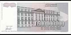 Yougoslavie - p125 - 500.000.000 Dinara - 1993 - Narodna Banka Jugoslavije