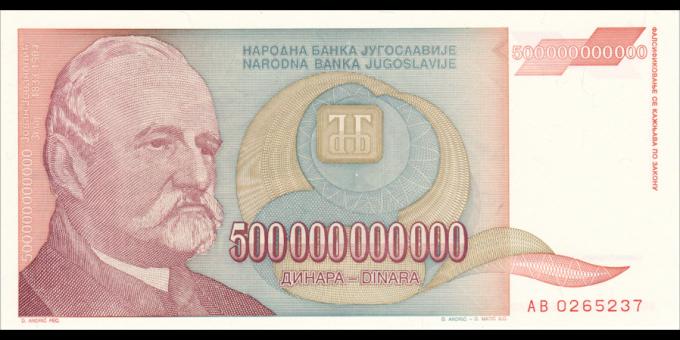 Yougoslavie - p137 - 500.000.000.000 Dinara - 1993 - Narodna Banka Jugoslavije