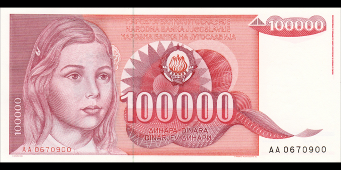 Yougoslavie - p097 - 100.000 Dinara - 01.05.1989 - Narodna Banka Jugoslavije