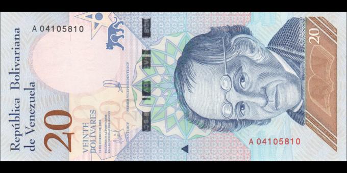 Venezuela - p104a - 20 Bolívares soberano - 15.01.2018 - Banco Central de Venezuela