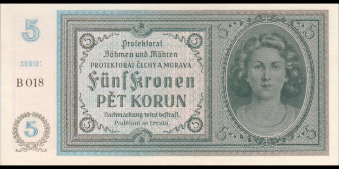 Böhmen und Mähren - p04 - 5 Kronen / Korun - ND (1940) - Protektorat Böhmen und Mähren / Protektorát Čechy a Morava