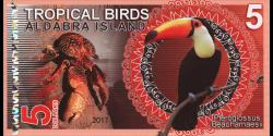 Iles Aldabra, 5 dollars, 2017