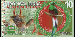 Iles Aldabra, 10 dollars, 2017