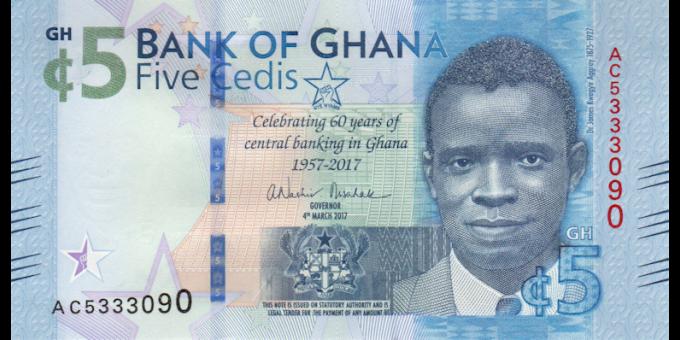 Ghana - p43 - 5 cedis - 04.03.2017 - Bank of Ghana