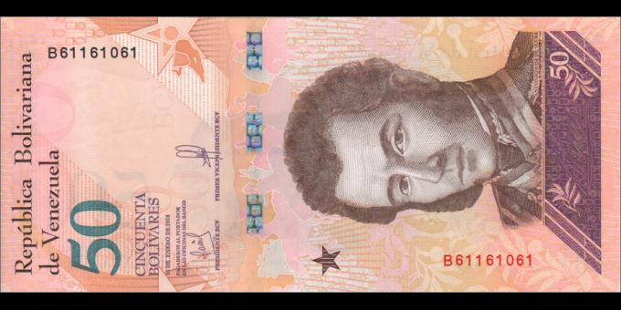 Venezuela - p105a - 50 Bolívares soberano - 15.01.2018 - Banco Central de Venezuela