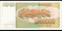 Yougoslavie - p099 - 1.000.000 Dinara / Dinarjev / Dinari - 01.11.1989 - Narodna Banka Jugoslavije / Narodna Banka na Jugoslavij