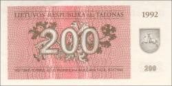 Lituanie - p43a - 200Talonas - 1992 - Lietuvos Respublika