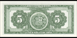 Pérou - p076b - 5 Soles de oro - 18.03.1960 - Banco Central de Reserva del Perú