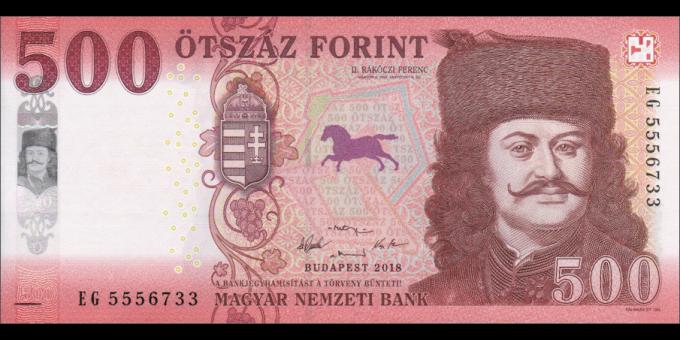 Hongrie - p202a - 500 Forint - 2018 - Magyar Nemzeti Bank