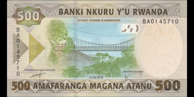 Rwanda - pNew - 500 Francs - 2019