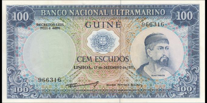 guinée portugaise - p45a5 - 100 escudos - 1971 - Banco Nacional Ultramarino