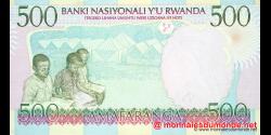 Rwanda - p26a1 - 500 Francs - 01.12.1998 - Banque Nationale du Rwanda / Banki Nasiyonali y'u Rwanda
