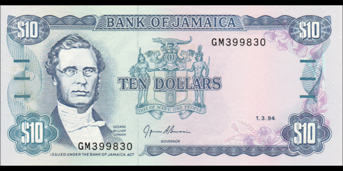 Jamaïque - p71e - 10 Dollars - 01.03.1994 - Bank of Jamaica