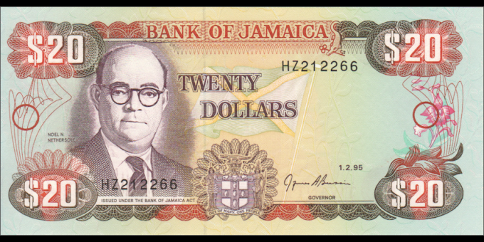 Jamaïque - p72e - 20 Dollars - 01.02.1995 - Bank of Jamaica