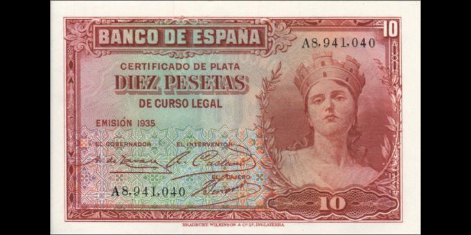 Espagne - p086 - 10Pesetas - 1935 - Banco de España