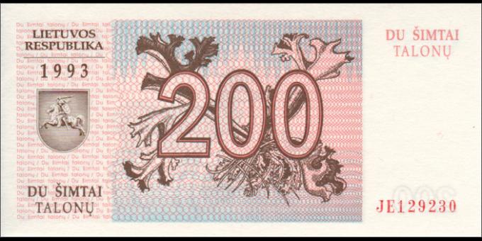 Lituanie - p45 - 200Talonas - 1993 - Lietuvos Respublika