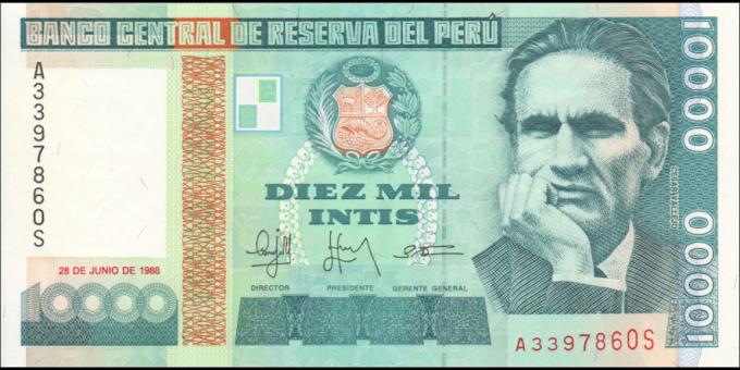 Pérou - p140 - 10.000 Intis - 28.06.1988 - Banco Central de Reserva del Perú