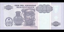 angola - p139 - 100 000 kwanzas Reajustados - 01.05.1995 - Banco Nacional de Angola