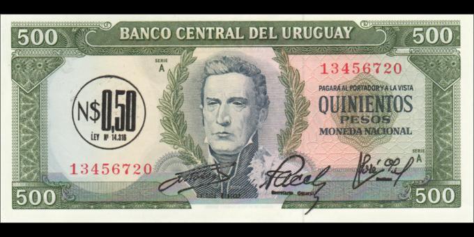 Uruguay - p54 - 0,50 Neuvo Peso - ND (1975) - Banco Central del Uruguay
