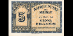Maroc - p24b - 5 Francs - 1944 - Banque d'Etat du Maroc