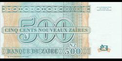 Zaire - p65 - 500 Nouveaux Zaïres - 1995 - Banque du Zaïre