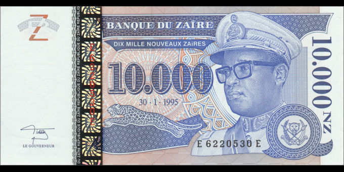 Zaire - p70 - 10.000 Nouveaux Zaïres - 1995 - Banque du Zaïre