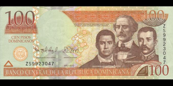 République Dominicaine - p184b - 100 Pesos Dominicanos - 2012 - Banco Central de la República Dominicana