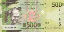 Guinée - pnew -500 francs - 2018 - Banque Centrale de la République de Guinée