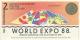 Australie World Expo - 2 ExpoDollars - 1988