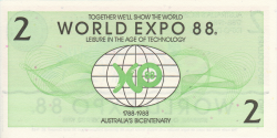 Australie World Expo - 2 ExpoDollars - 1988