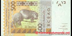 Sénégal - p719Ka - 500 Francs - 2012 - Banque Centrale des États de l'Afrique de l'Ouest