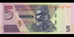 Zimbabwe - p102a - 5 Dollars - 2019 - Reserve Bank of Zimbabwe