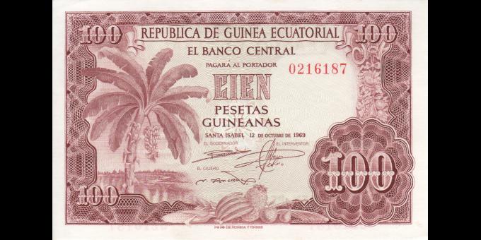 guinée équatoriale - p001 - 100 pesetas - 12.10.1969 - El Banco Centrale