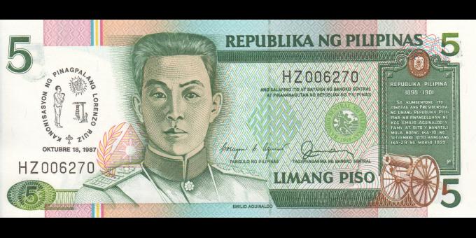 Philippines - p176 - 5 Piso - 1987 - Bangko Sentral ng Pilipinas