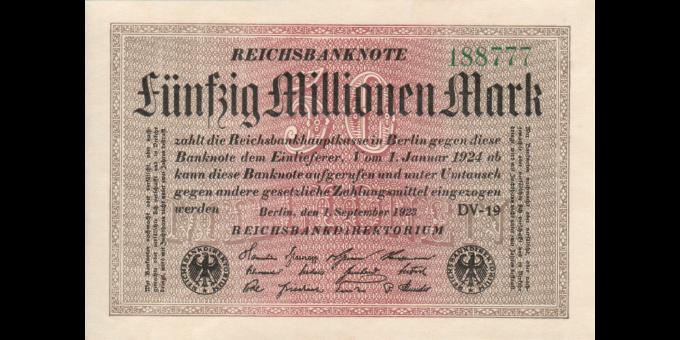 Allemagne - p109b - 50.000.000Mark - 1.09.1923 - Reichsbank