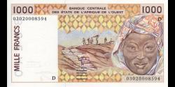 Mali - p411Dm - 1 000 Francs - 2003 - Banque Centrale des États de l'Afrique de l'Ouest