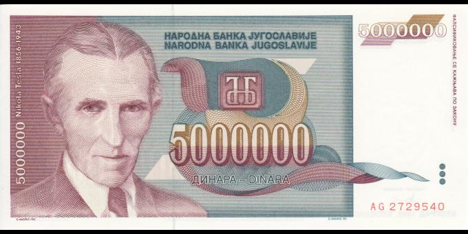 Yougoslavie - p121 - 5.000.000 Dinara - 1993 - Narodna Banka Jugoslavije