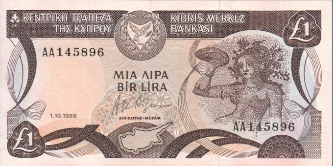 Chypre - p53a - 1 lira - 1.10.1988 - Central Bank of Cyprus / Kentriki Trapeza tis Kyprou / Kıbrıs Merkez Bankası