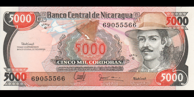 Nicaragua - p157 - 5 000 Córdobas - 1988 - Banco Central de Nicaragua