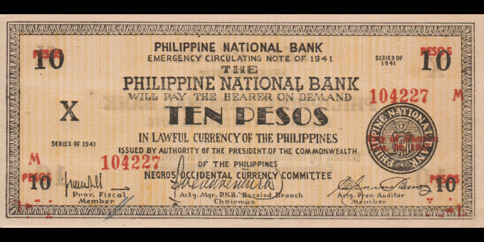 Philippines - pS627d - 10 Pesos - 1941 - Philippine National Bank, Bacolod Branch