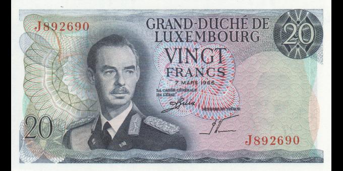 Luxembourg - p54b - 20 Francs - 07.03.1966 - Grand - Duché de Luxembourg