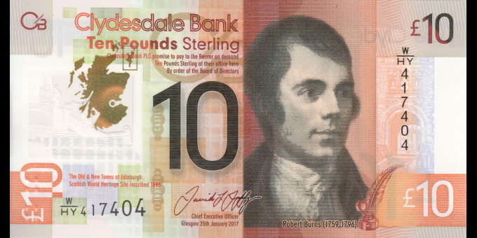 Ecosse - p229Q - 10 Pounds Sterling - 25.1.2017 - Clydesdale Bank