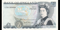 Angleterre - p378c - 5 Pounds - ND (1985) - Bank of England